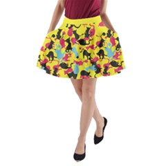 Camouflage color A-Line Pocket Skirt