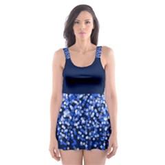 Blue Glitter Rain Skater Dress Swimsuit
