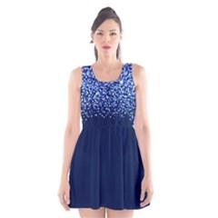 Blue Glitter Rain Scoop Neck Skater Dress