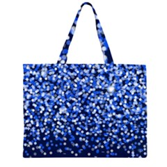 Blue Glitter Rain Large Tote Bag