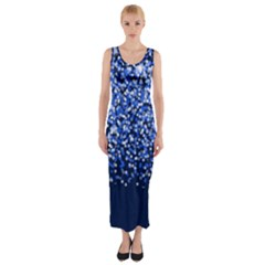 Blue Glitter Rain Fitted Maxi Dress