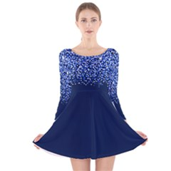Blue Glitter Rain Long Sleeve Velvet Skater Dress