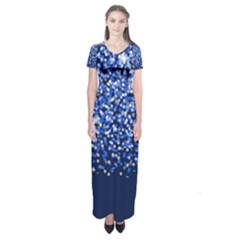 Blue Glitter Rain Short Sleeve Maxi Dress