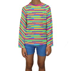 Colorful Stripes Background Kid s Long Sleeve Swimwear