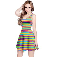Colorful Stripes Background Reversible Sleeveless Dress