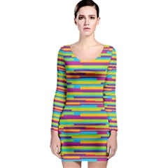 Colorful Stripes Background Long Sleeve Bodycon Dress