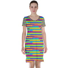 Colorful Stripes Background Short Sleeve Nightdress