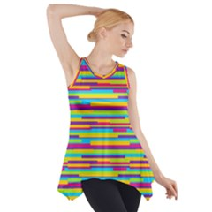 Colorful Stripes Background Side Drop Tank Tunic