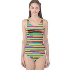 Colorful Stripes Background One Piece Swimsuit