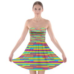 Colorful Stripes Background Strapless Dresses