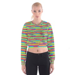 Colorful Stripes Background Women s Cropped Sweatshirt