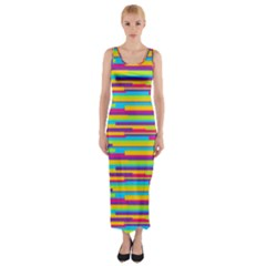 Colorful Stripes Background Fitted Maxi Dress