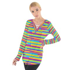 Colorful Stripes Background Women s Tie Up Tee