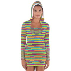 Colorful Stripes Background Women s Long Sleeve Hooded T-shirt