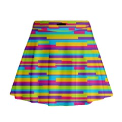 Colorful Stripes Background Mini Flare Skirt