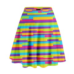 Colorful Stripes Background High Waist Skirt