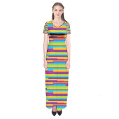 Colorful Stripes Background Short Sleeve Maxi Dress