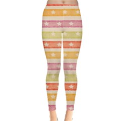 Watercolor Stripes Background With Stars Leggings