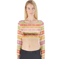 Watercolor Stripes Background With Stars Long Sleeve Crop Top