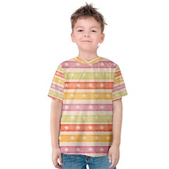 Watercolor Stripes Background With Stars Kid s Cotton Tee