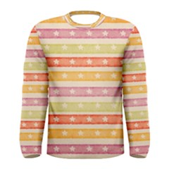 Watercolor Stripes Background With Stars Men s Long Sleeve Tee