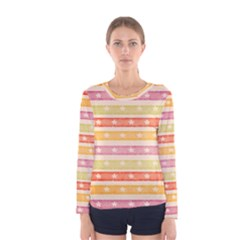 Watercolor Stripes Background With Stars Women s Long Sleeve Tee
