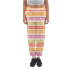 Watercolor Stripes Background With Stars Women s Jogger Sweatpants