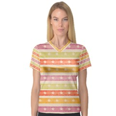 Watercolor Stripes Background With Stars Women s V-Neck Sport Mesh Tee