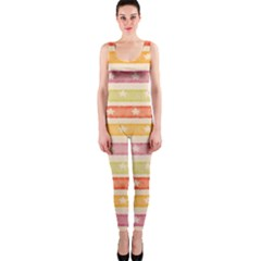 Watercolor Stripes Background With Stars OnePiece Catsuit