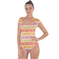 Watercolor Stripes Background With Stars Short Sleeve Leotard (Ladies)