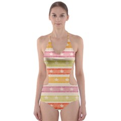 Watercolor Stripes Background With Stars Cut-Out One Piece Swimsuit