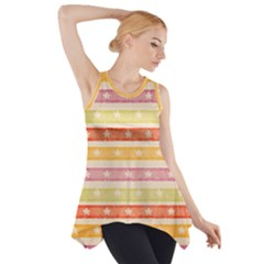 Watercolor Stripes Background With Stars Side Drop Tank Tunic