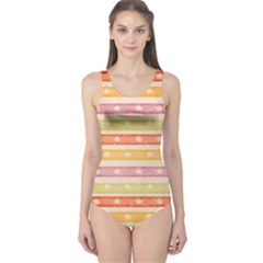 Watercolor Stripes Background With Stars One Piece Swimsuit