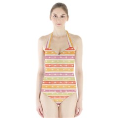 Watercolor Stripes Background With Stars Women s Halter One Piece Swimsuit