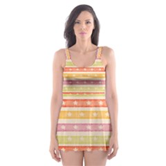 Watercolor Stripes Background With Stars Skater Dress Swimsuit