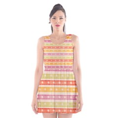 Watercolor Stripes Background With Stars Scoop Neck Skater Dress