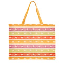Watercolor Stripes Background With Stars Large Tote Bag