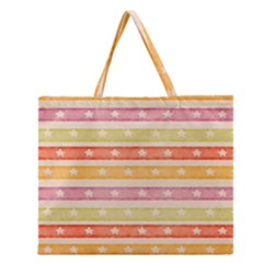 Watercolor Stripes Background With Stars Zipper Large Tote Bag