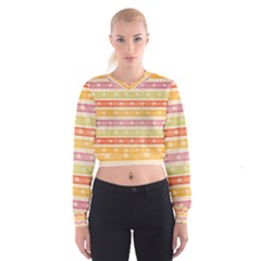 Watercolor Stripes Background With Stars Women s Cropped Sweatshirt