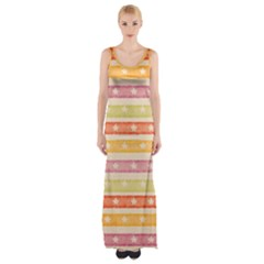 Watercolor Stripes Background With Stars Maxi Thigh Split Dress