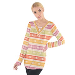 Watercolor Stripes Background With Stars Women s Tie Up Tee