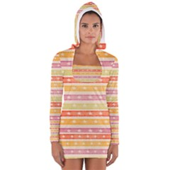 Watercolor Stripes Background With Stars Women s Long Sleeve Hooded T Shirt