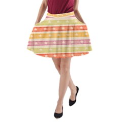 Watercolor Stripes Background With Stars A-Line Pocket Skirt