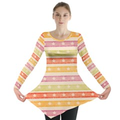Watercolor Stripes Background With Stars Long Sleeve Tunic