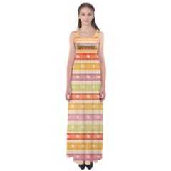 Watercolor Stripes Background With Stars Empire Waist Maxi Dress