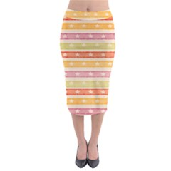 Watercolor Stripes Background With Stars Midi Pencil Skirt