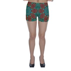 The Wooden Heart Mandala,giving Calm Skinny Shorts