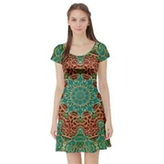 The Wooden Heart Mandala,giving Calm Short Sleeve Skater Dress