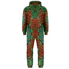 The Wooden Heart Mandala,giving Calm Hooded Jumpsuit (Men)