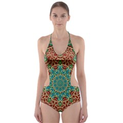 The Wooden Heart Mandala,giving Calm Cut Out One Piece Swimsuit